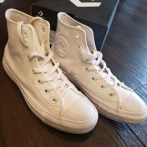 White Leather Monochrome Converse